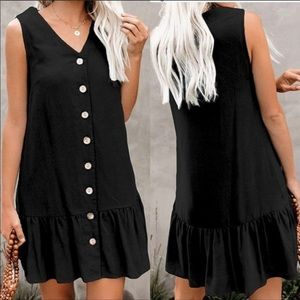 LAST ONE! What a Doll Button Down Dress-Black